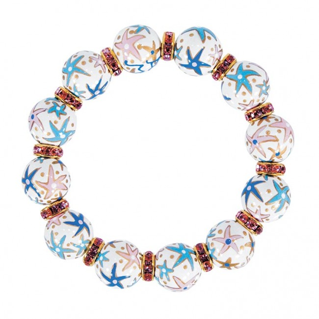 Starfish Pearl Clic Braclet Lt Rose Swarovski Crystals By Angela Moore Hand Painted