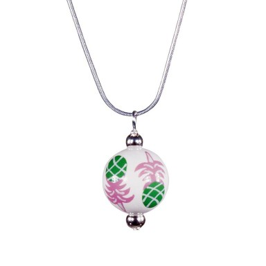 PINEAPPLE PATCH PINK/GREEN CLASSIC BEAD PENDANT Angela Moore