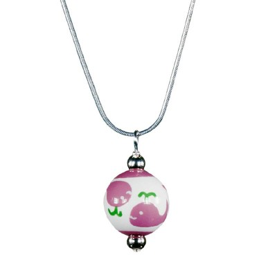 WHALE WATCH PINK/GREEN CLASSIC BEAD PENDANT Necklace by Angela Moore