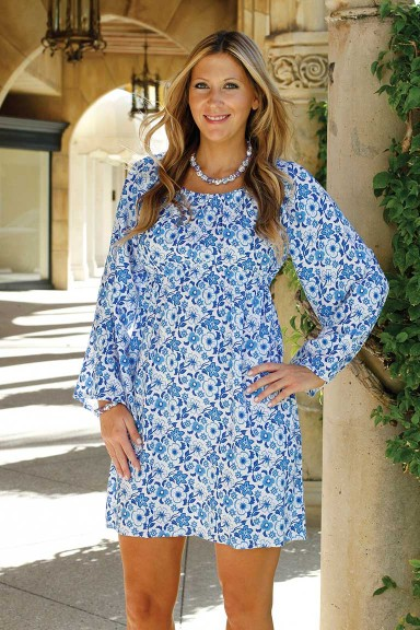 CARLY DRESS - FRENCH FLORALS BLUE/WHITE