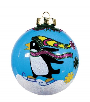 SKATING PENGUIN ORNAMENT by Angela Moore