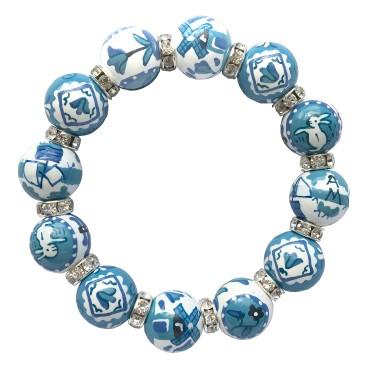 DUTCH TREAT BLUE CLASSIC BRACELET W/CLEAR SWAROVSKI CRYSTALS