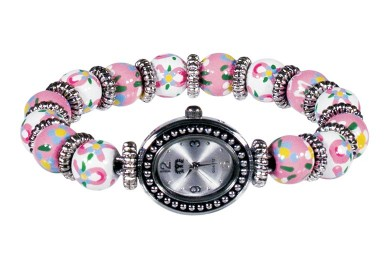 PINK RIBBON PETITE BEAD WATCH - SILVER by Angela Moore - Hand Painted Beaded Watch