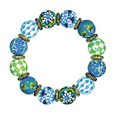 PALM BEACH BLUE CLASSIC BRACELET -  GOLD by Angela Moore - Hand Painted, Beaded Bracelet