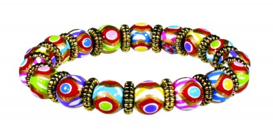 COLOR DOTS PETITE BEAD BRACELET WITH SILVER