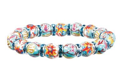 CORAL REEF PETITE BRACELET- AQUA SWAROVSKI CRYSTALS by Angela Moore - Hand Painted, Beaded Bracelet
