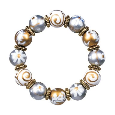RAJ REVIVAL CLASSIC BRACELET - GOLD by Angela Moore - Hand Painted, Beaded Bracelet