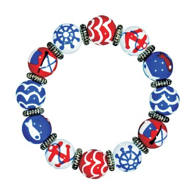 NAUTICAL BREEZE RED BLUE CLASSIC BRACELET - SILVER by Angela Moore - Hand Painted, Beaded Bracelet