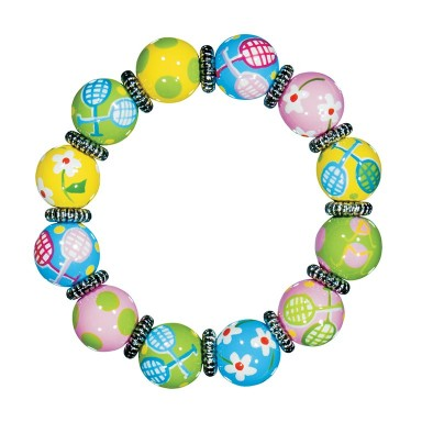 TENNIS TALES CLASSIC BRACLET - SILVER by Angela Moore - Hand Painted, Beaded Bracelet