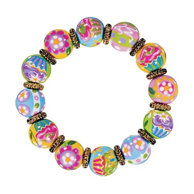 COOL CUPCAKES CLASSIC BRACELET - GOLD by Angela Moore - Hand Painted, Beaded Bracelet