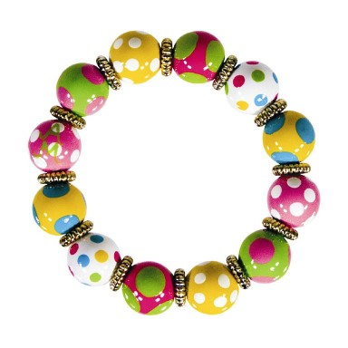 DOTTY DELIGHT CLASSIC BRACELET - GOLD by Angela Moore - Hand Painted, Beaded Bracelet