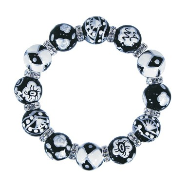 PLAZA NIGHTS CLASSIC BRACELET - CLEAR SWAROVSKI CRYSTALS by Angela Moore - Hand Painted, Beaded Bracelets