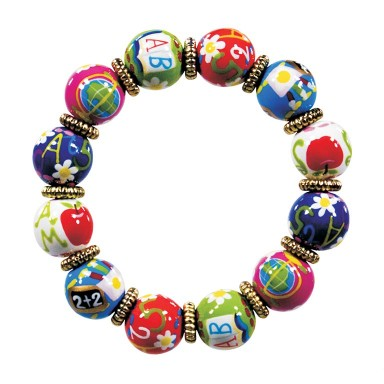 TEACHER'S PET CLASSIC BRACELET - GOLD by Angela Moore - Hand Painted, Beaded Bracelet