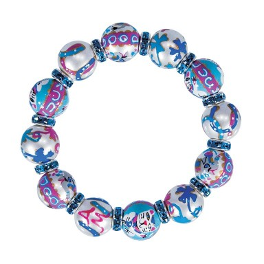 LUCKY DAY CLASSIC BRACELET - AQUA SWAROVSKI CRYSTALS by Angela Moore - Hand Painted, Beaded Bracelets
