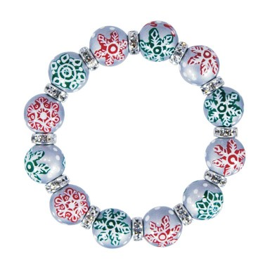 SPARKLE SNOWFLAKES CLASSIC BRACELET - CLEAR SWAROVSKI CRYSTALS by Angela Moore - Hand Painted, Beaded Bracelets