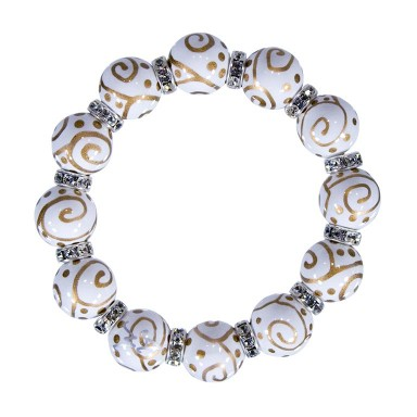 SOLAR SWIRL CLASSIC BRACELET - CLEAR SWAROVSKI CRYSTALS by Angela Moore - Hand Painted, Beaded Bracelets