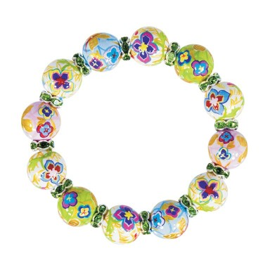 GOLDEN PANSIES CLASSIC BRACELET - PERIDOT SWAROVSKI CRYSTALS by Angela Moore - Hand Painted, Beaded Bracelets