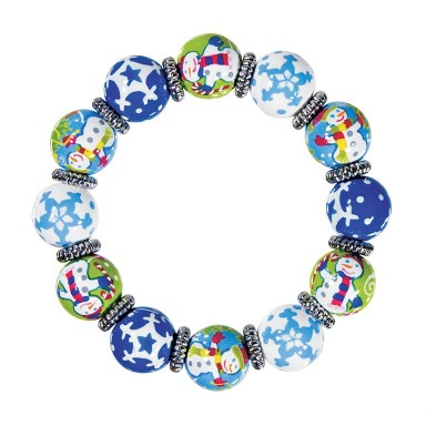 SNAPPY SNOWMEN CLASSIC BRACLET - SILVER by Angela Moore - Hand Painted, Beaded Bracelet