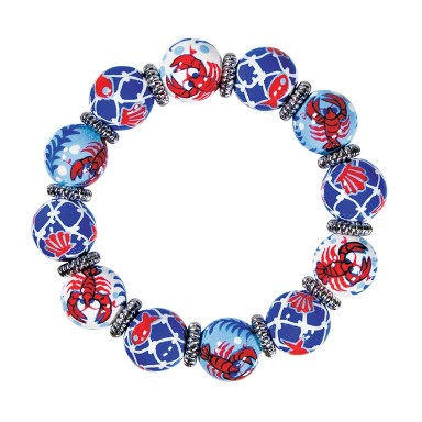 LOVE THAT LOBSTA CLASSIC BRACELET - SILVER by Angela Moore - Hand Painted, Beaded Bracelet