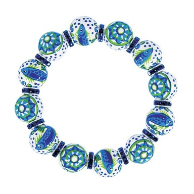 COASTAL COOL CLASSIC BRACELET - LT SAPPHIRE SWAROVSKI CRYSTALS by Angela Moore - Hand Painted, Beaded Bracelets