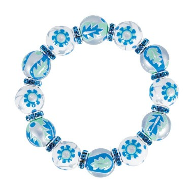 LUXE LIFE CLASSIC BRACET - AQUA SWAROVSKI CRYSTALS by Angela Moore - Hand Painted, Beaded Bracelets