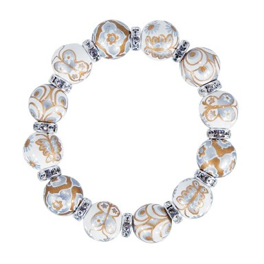 MOONDROP SERENADE CLASSIC BRACELET - CLEAR SWAROVSKI CRYSTALS by Angela Moore - Hand Painted, Beaded Bracelets