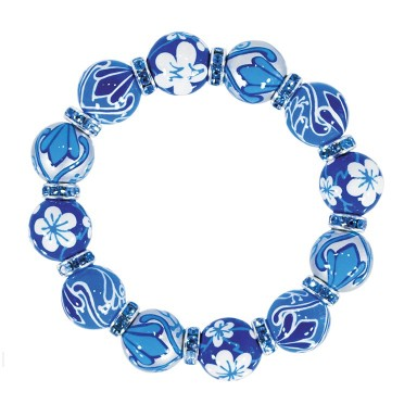 BLUE HEAVEN CLASSIC BRACELET - AQUA SWAROVSKI CRYSTALS by Angela Moore - Hand Painted, Beaded Bracelets