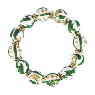 GREEN CRUSH CLASSIC BRACLET - CLEAR SWAROVSKI CRYSTALS by Angela Moore - Hand Painted, Beaded Bracelets