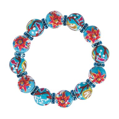 CORAL REEF CLASSIC BRACELET - AQUA SWAROVSKI CRYSTALS by Angela Moore - Hand Painted, Beaded Bracelets