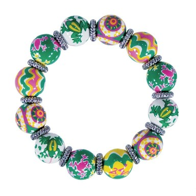 FANCY FROGS CLASSIC BRACELET - SILVER by Angela Moore - Hand Painted, Beaded Bracelet