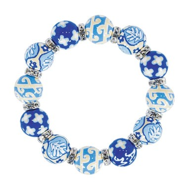 DESERT BLOOM BLUE CLASSIC BRACELET - CLEAR SWAROVSKI CRYSTALS by Angela Moore - Hand Painted, Beaded Bracelets