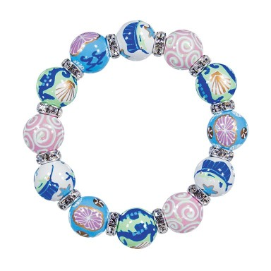 SEA SENSATION CLASSIC BRACELET - CLEAR SWAROVSKI CRYSTALS by Angela Moore - Hand Painted, Beaded Bracelets