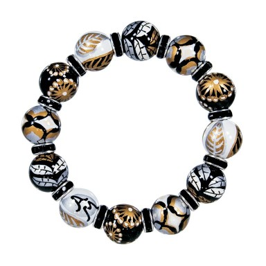 FRENCH ROAST CLASSIC BRACELET - JET SWAROVSKI CRYSTALS by Angela Moore - Hand Painted, Beaded Bracelet