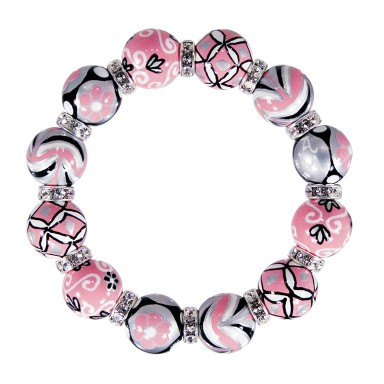 PRINCESS RULES CLASSIC BRACELET - CLEAR SWAROVSKI CRYSTALS by Angela Moore - Hand Painted, Beaded Bracelets