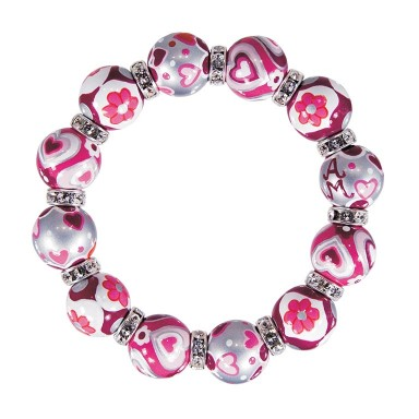 HAPPY HEARTS CLASSIC BRACELET - CLEAR SWAROVSKI CRYSTALS by Angela Moore - Hand Painted, Beaded Bracelets