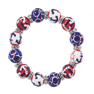 ANCHORS AWAY NAVY/RED CLASSIC BRACELET - CLEAR SWAROVSKI CRYSTALS