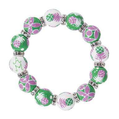 PINEAPPLE PATCH PINK/GREEN CLASSIC BRACELET - CLEAR SWAROVSKI CRYSTALS