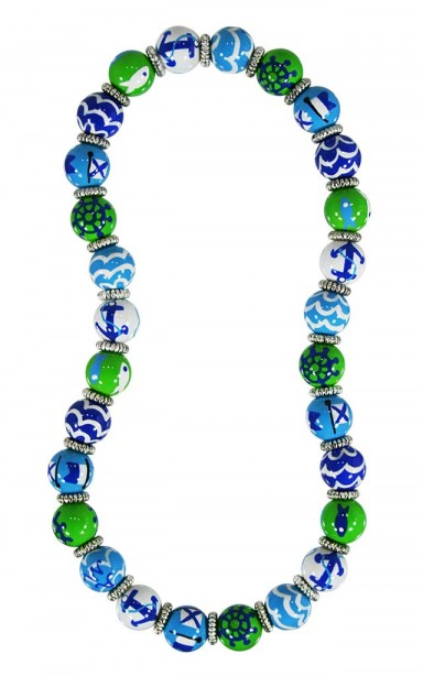 NAUTICAL BREEZE BLUE GREEN CLASSIC NECKLACE - SILVER by Angela Moore - Hand Painted, Beaded Necklace