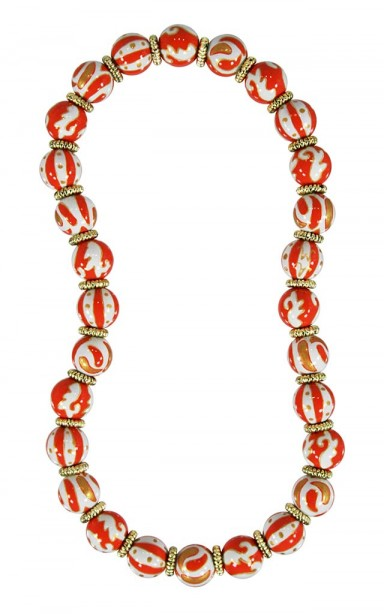 ORANGE CRUSH CLASSIC NECKLACE - GOLD by Angela Moore - Hand Painted, Beaded Necklace