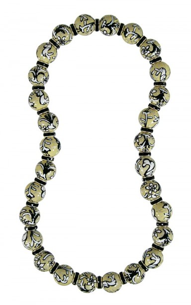 AMAZING LACE CLASSIC NECKLACE - JET SWAROVSKI CRYSTALS by Angela Moore - Hand Painted, Beaded Necklace