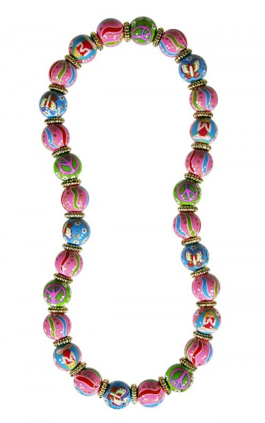 GOOD KARMA CLASSIC NECKLACE - GOLD by Angela Moore - Hand Painted, Beaded Necklace