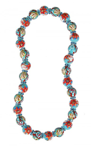 CORAL REEF CLASSIC NECKLACE - AQAUMARINE SWAROVSKI CRYSTALS by Angela Moore - Hand Painted, Beaded Necklace