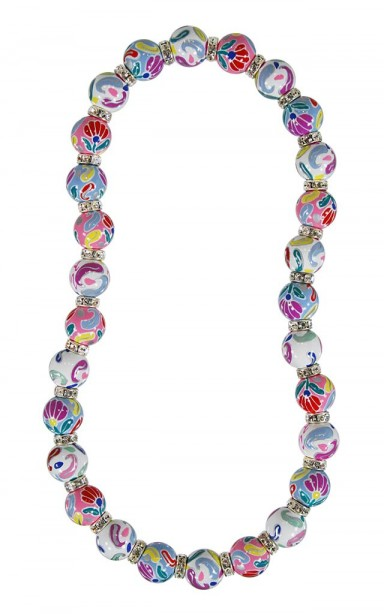 FRENCH LACE MULTI CLASSIC NECKLACE - CLEAR SWAROVSKI CRYSTALS by Angela Moore - Hand Painted, Beaded Necklace