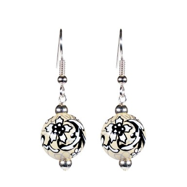 AMAZING LACE CLASSIC BEAD EARRINGS - SILVER by Angela Moore - Hand Painted Earrings