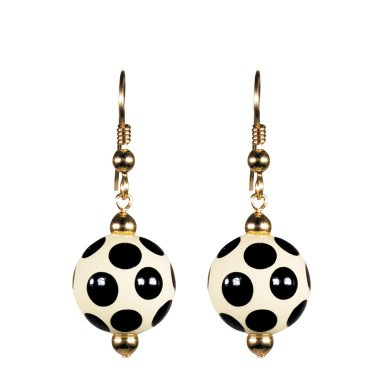 GLAMOUR PUSS CLASSIC BEAD EARRINGS - GOLD by Angela Moore - Hand Painted Earrings