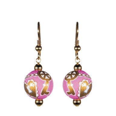 KEY TO MY HEART PINK CLASSIC BEAD EARRINGS - GOLD by Angela Moore - Hand Painted Earrings