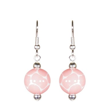 GIRAFFE BABY PINK CLASSIC BEAD EARRINGS - SILVER by Angela Moore - Hand Painted Earrings