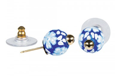 DEAUVILLE POST EARRINGS - GOLD by Angela Moore - Hand Painted Earrings