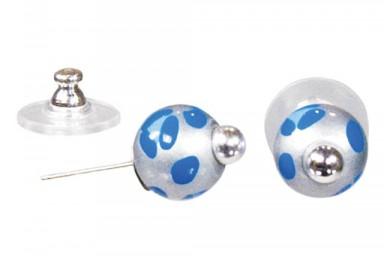 LEOPARD LIFE BLUE POST EARRINGS - SILVER by Angela Moore - Hand Painted Earrings