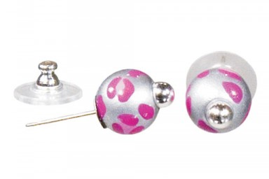 LEOPARD LIFE PINK POST EARRINGS - SILVER by Angela Moore - Hand Painted Earrings